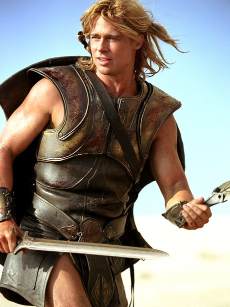 brad pitt works the breastplate and skirt look in troy