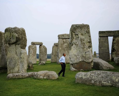 Barrack Obama At Stonehenge