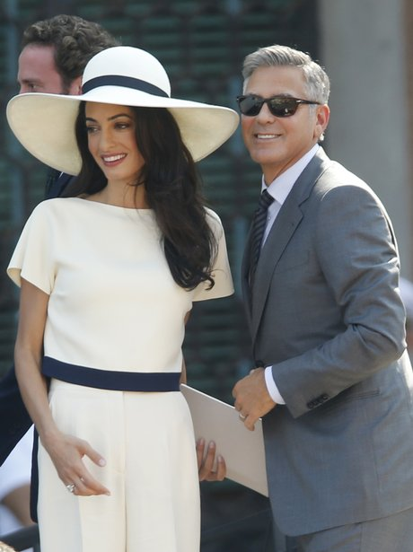 Amal Alamuddin wears a Stella McCartney white suit for her ...