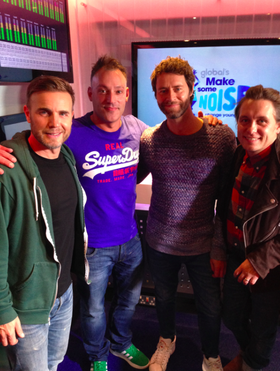 Toby Anstis with Take That in the studio
