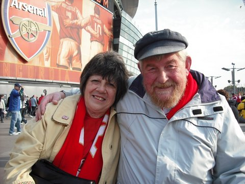 Margaret and David Waterland outside the Emirates