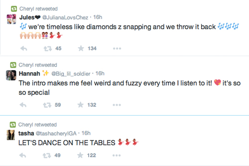 Cheryl's Tweets