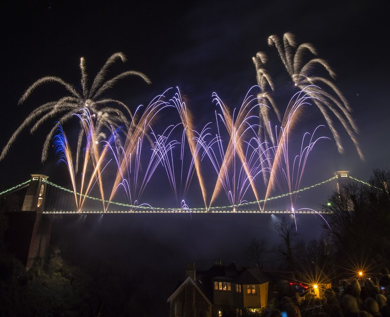 Fireworks on Clifton Suspension Bridge
