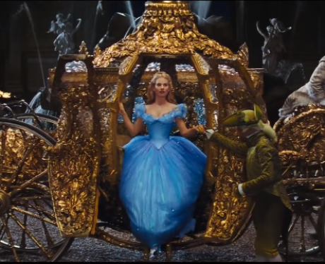 Cinderella stepping out of her carriage