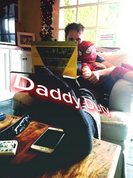 Matt Bellamy and his little boy