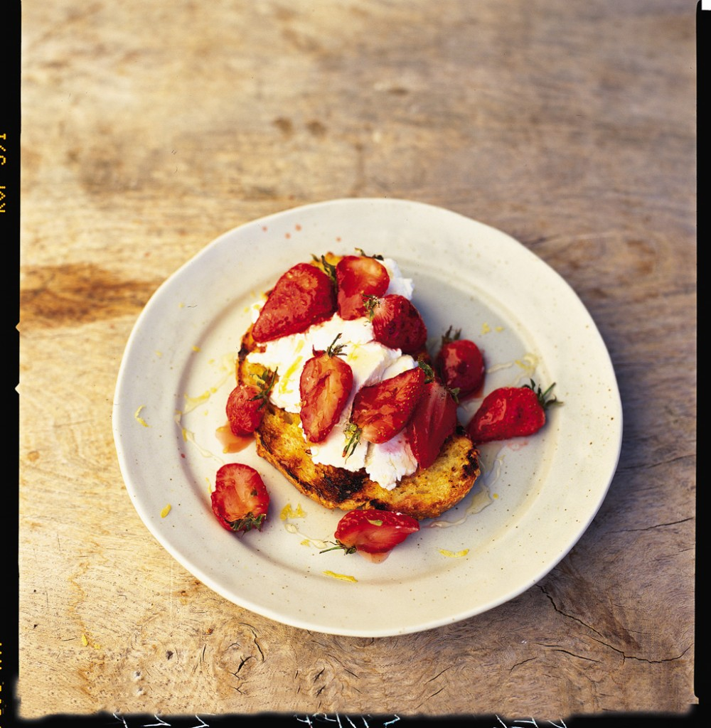 Charred eggy bread and fruit