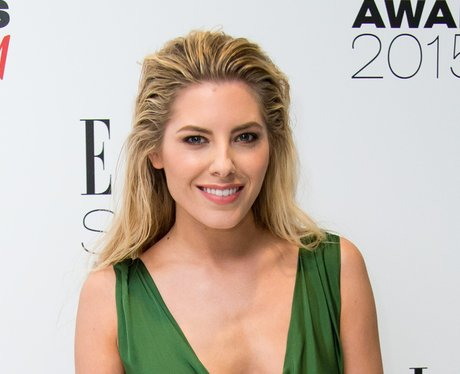Mollie King in a green dress