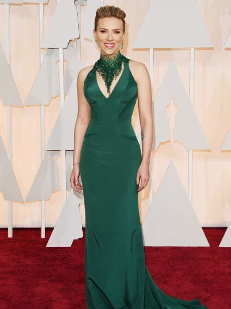 Scarlett Johansson in a green dress on the red carpet