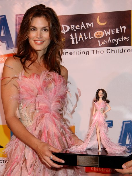 Cindy Crawford with the barbie dress designed by R