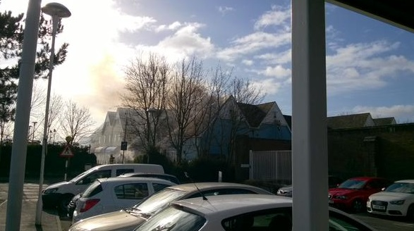 Bicester Village on fire