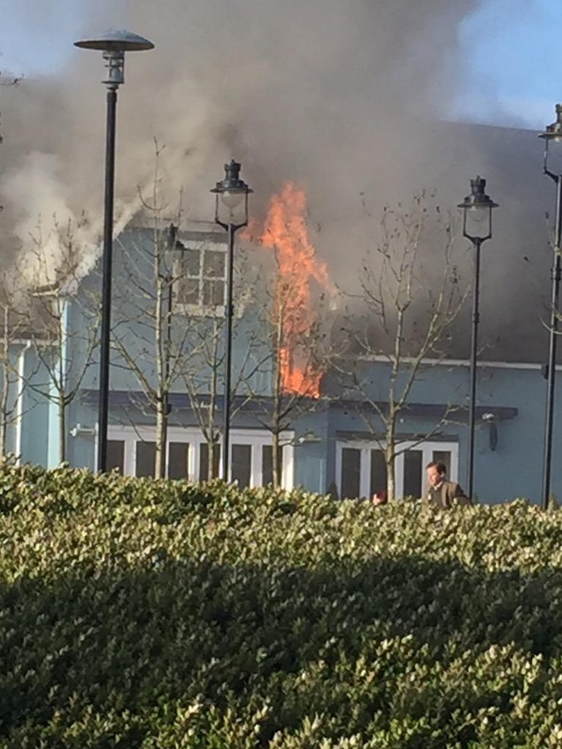 Flames at Bicester village