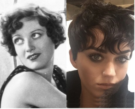 Katy Perry split short hair canvas