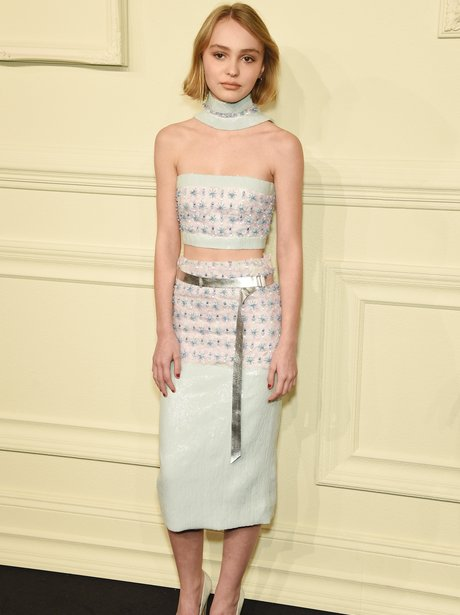 Lily-Rose Depp in a skirt and crop top