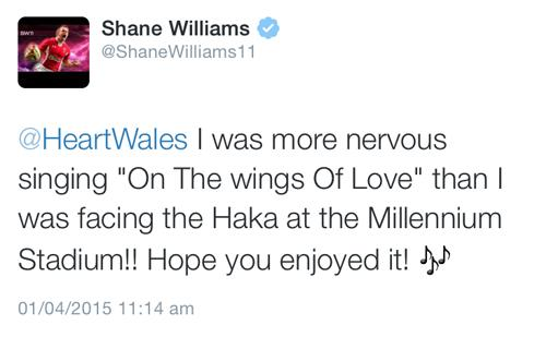 Shane Williams tweets about how nervous he was!