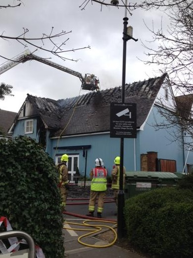 Tiles falling of roof at Bicester Fire