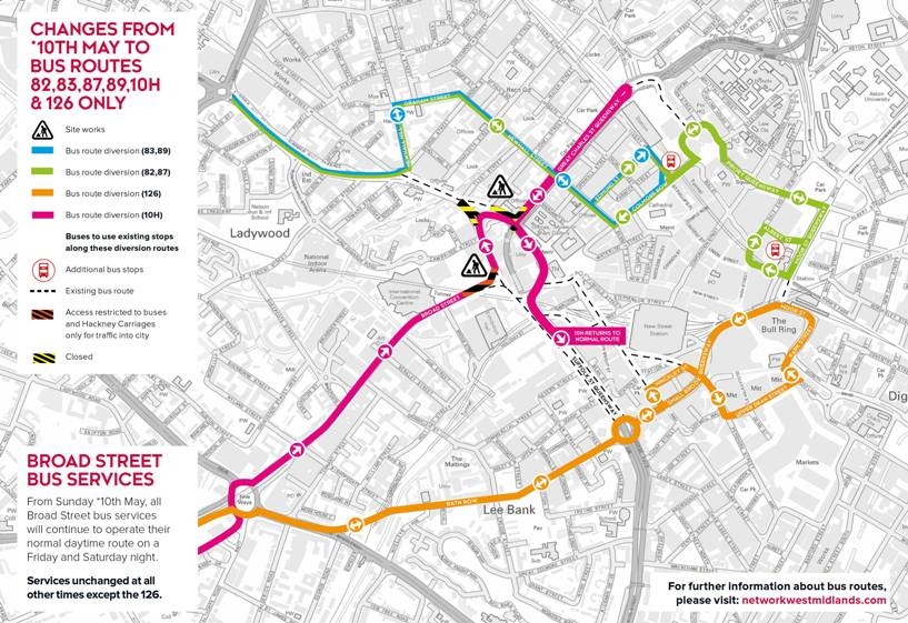Birmingham paradise area redevelopment bus routes