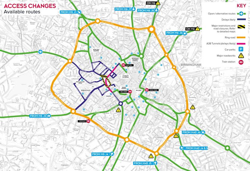 Birmingham paradise area redevelopment local roads