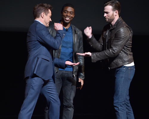 Robert Downey Jr., Chris Evans and Chadwick Bosema