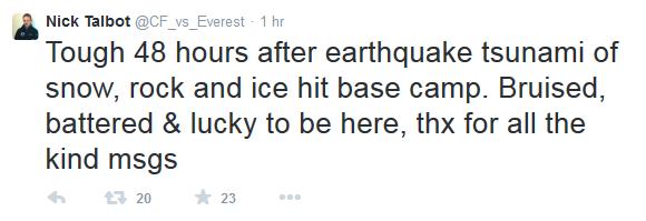 nick talbot nepal tweet