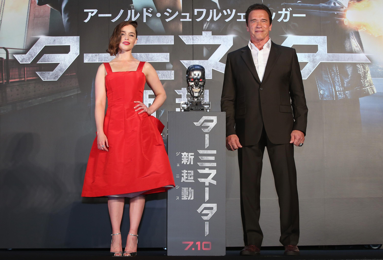 Emilia Clarke and Arnold Schwarzenegger