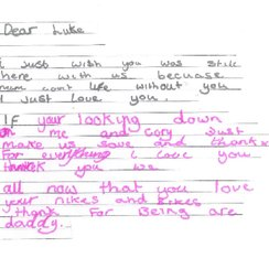A note written to Luke by Stacey's children