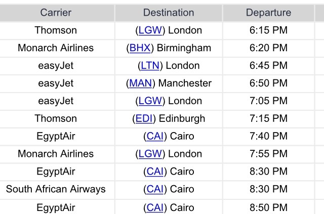 Departure board at Sharm