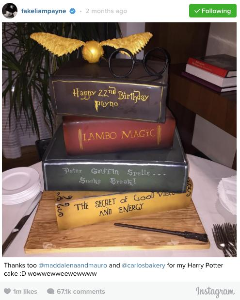 Liam Payne Harry Potter Cake