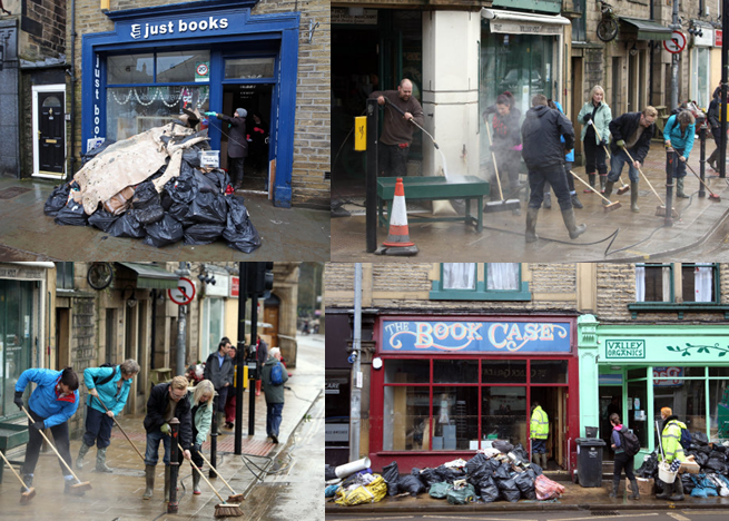Clean up operation flooding Hebden Bridge