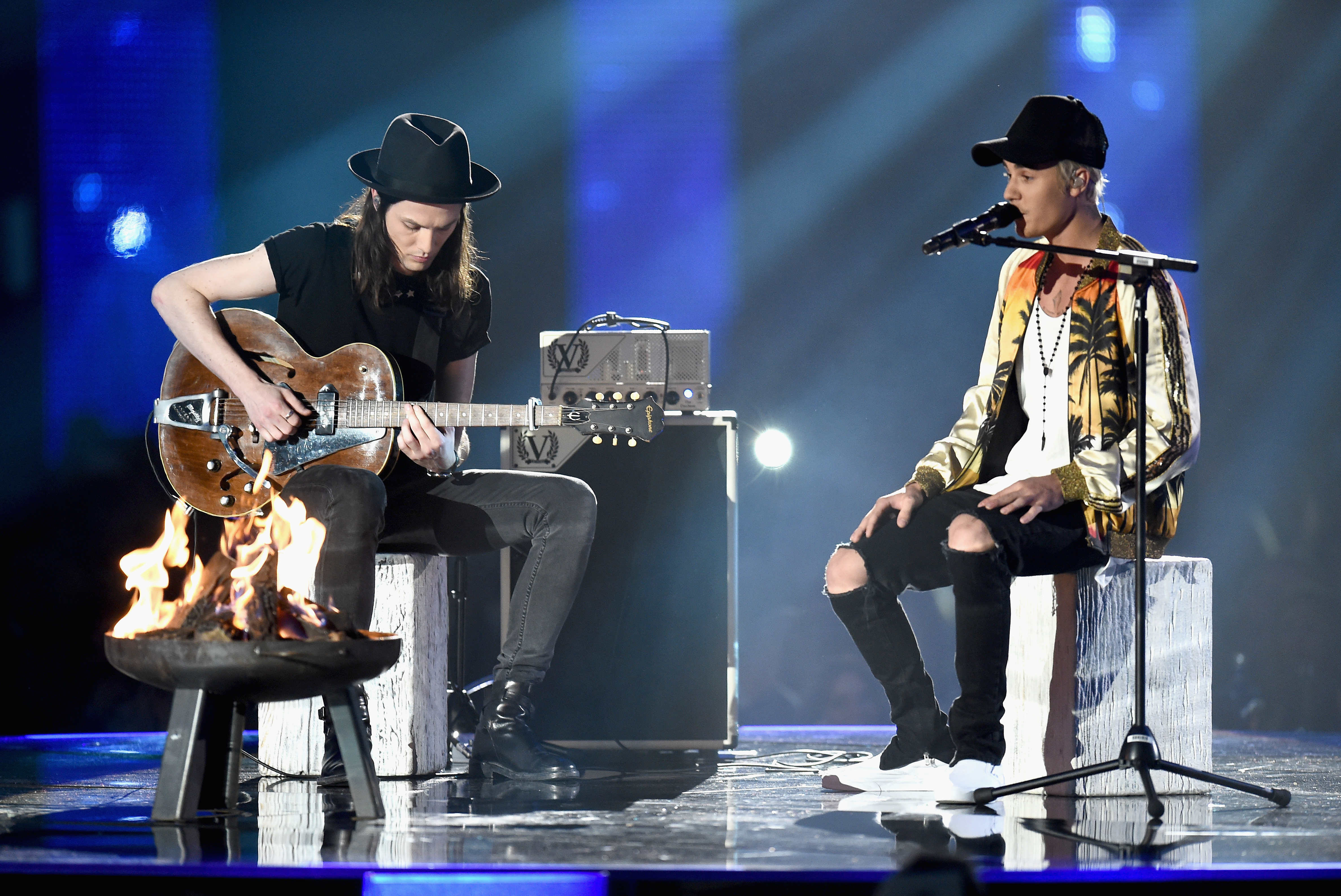 James Bay and Justin Bieber The Brit Awards 2016 L