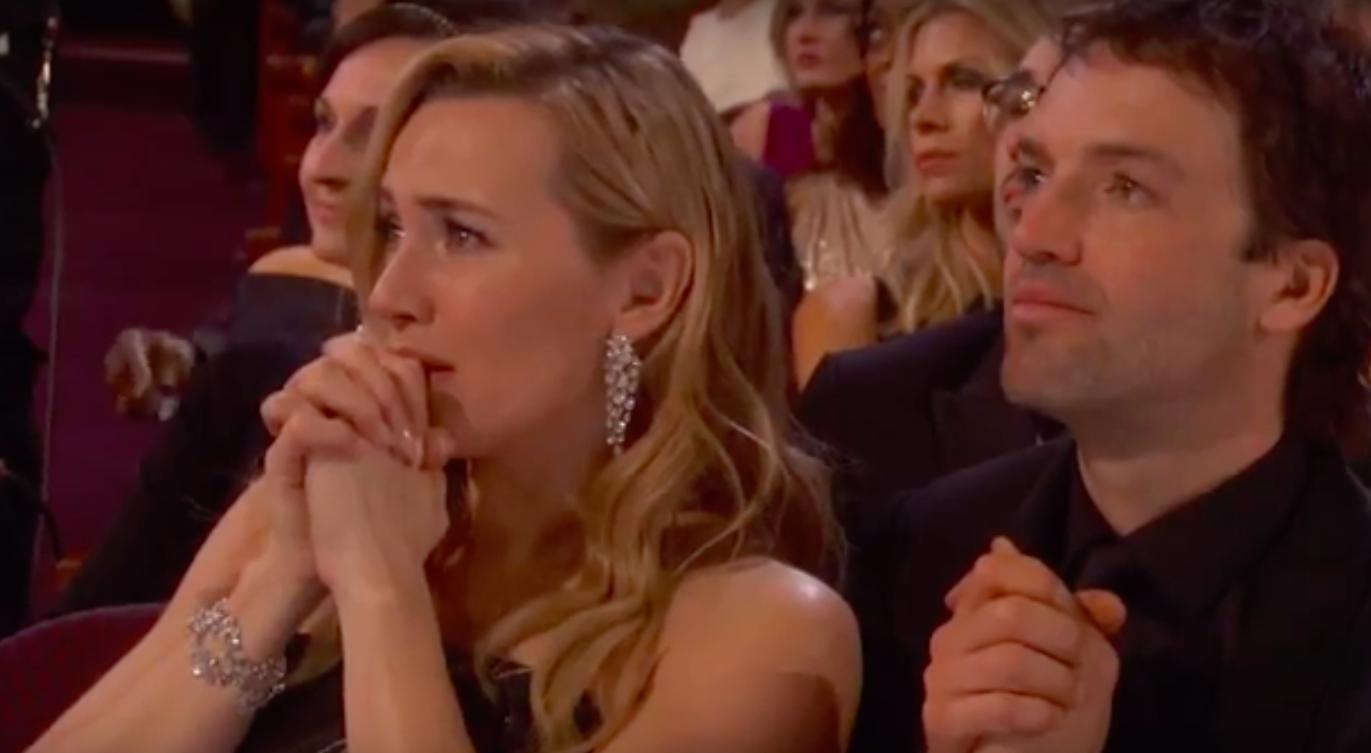 Kate Winslet gets emotional at Leonardo DiCaprio's