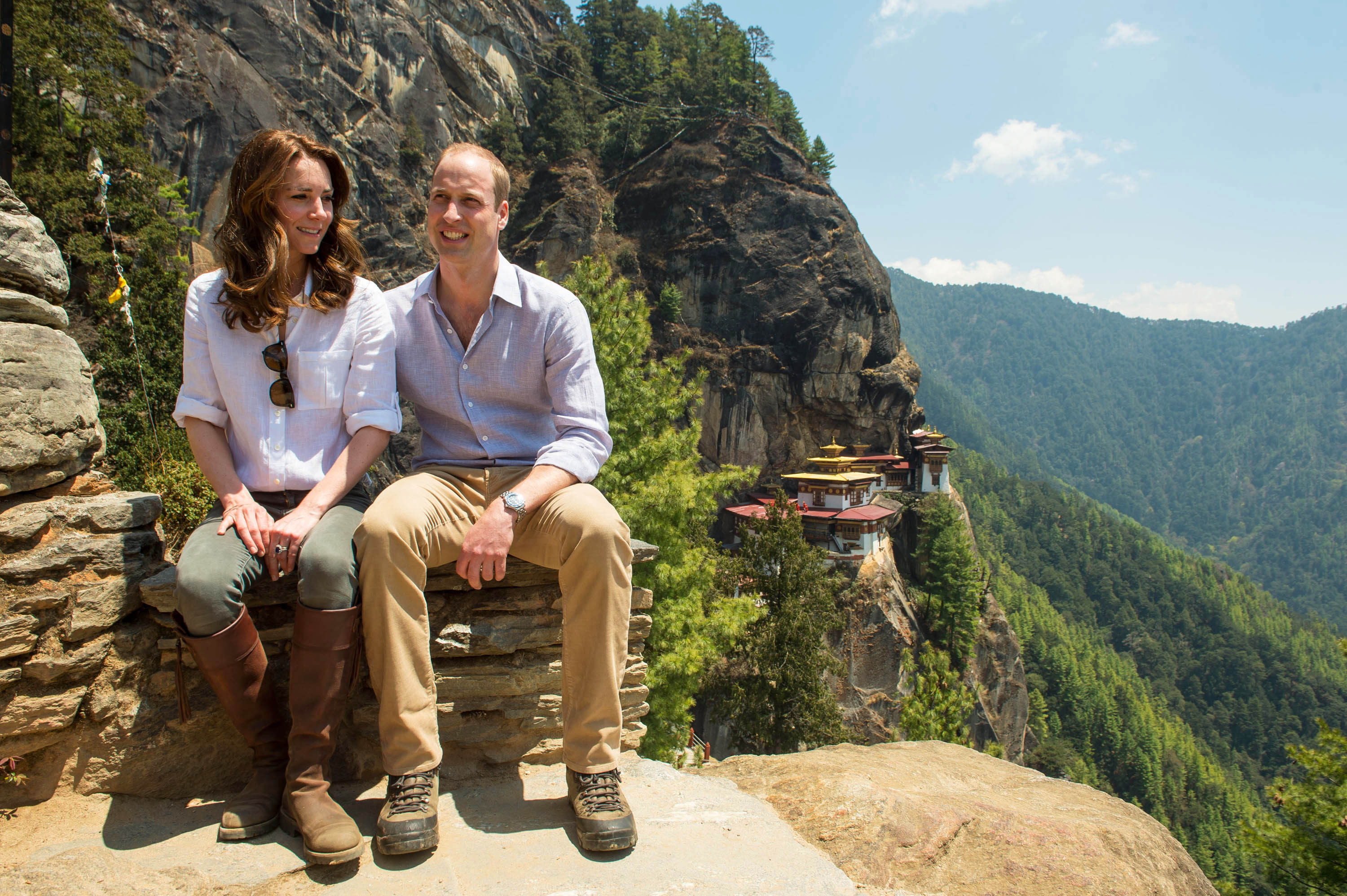 Kate and Wlliam trek to the tiger's nest monastery