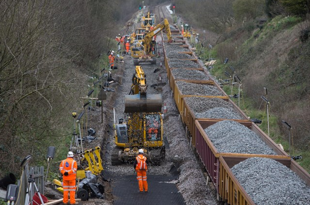 Photo by Network Rail of lowering of the track bet