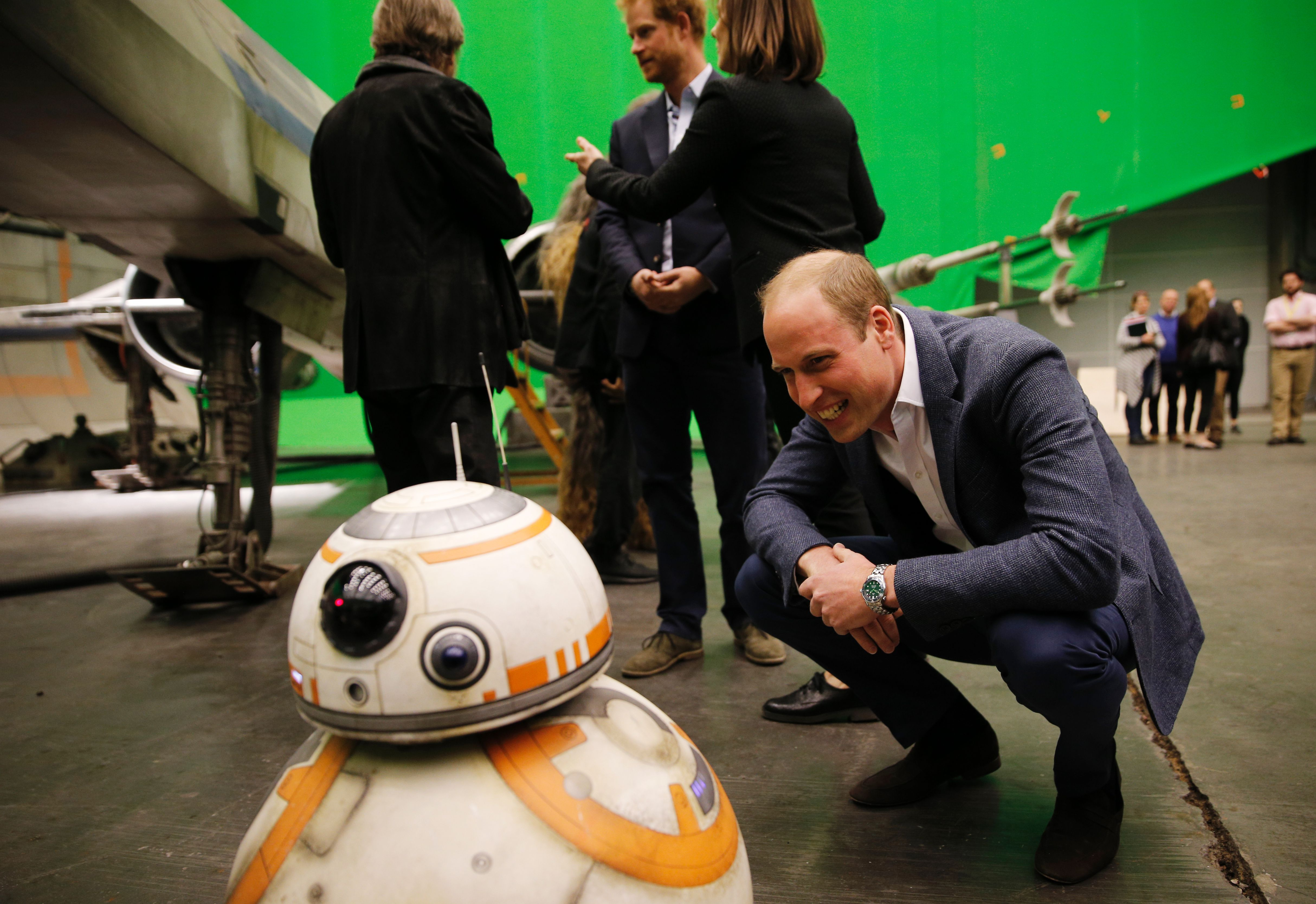 Prince William and Prince Harry on set Star Wars