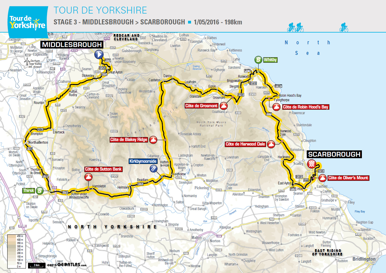 Tour De Yorkshire: Stage 3 Map