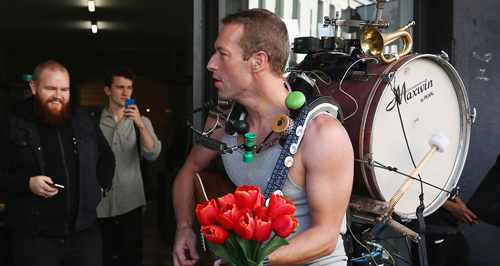 Chris Martin one man band suit