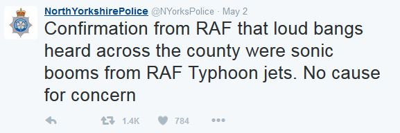 sonic boom north yorkshire police tweet