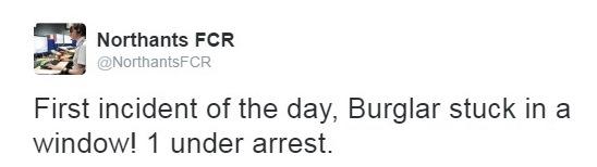 Kettering FCR Burglar Tweet
