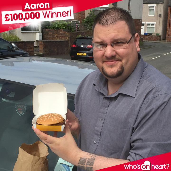 Who's on Heart winner with his burger £100,000