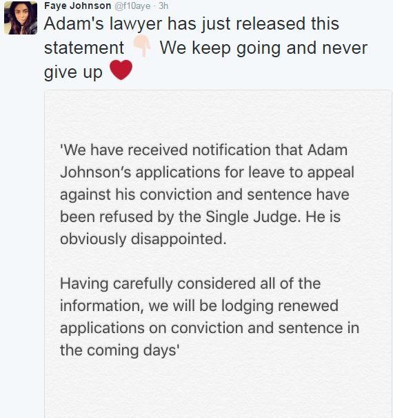 Adam Johnson's sister tweeting about appeal