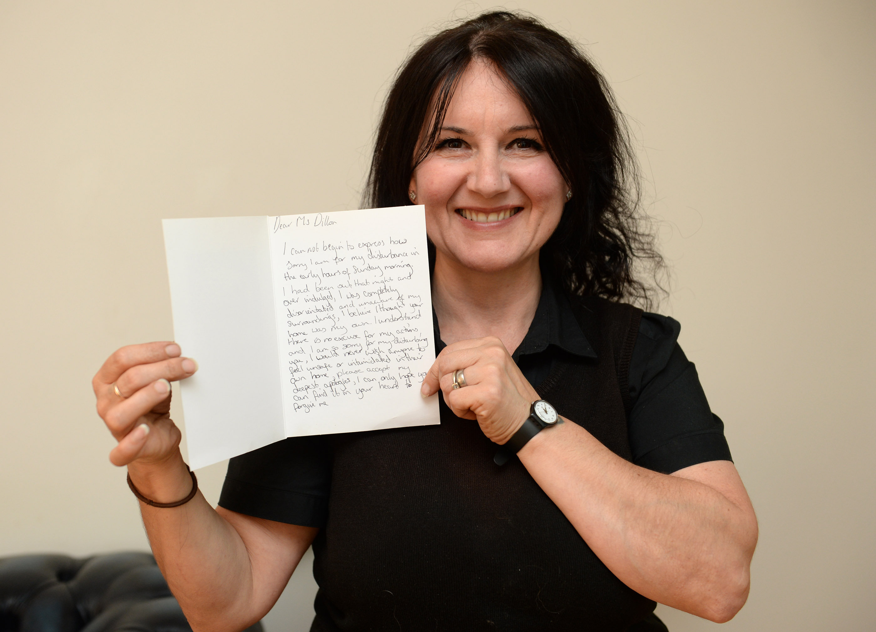 Anna Dillon receives apologetic letter from drunke