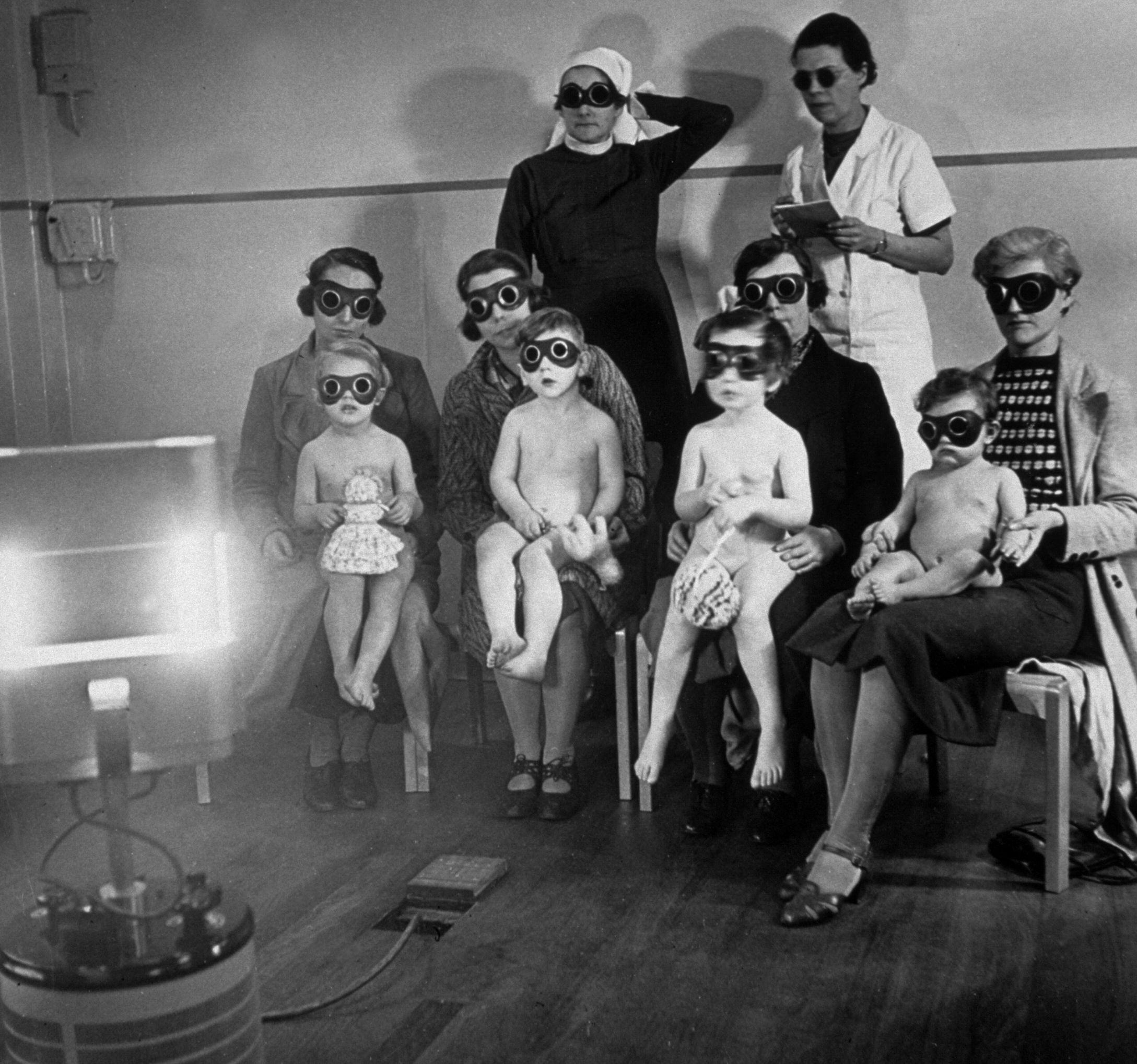 Children receiving ray treatment at the child welf