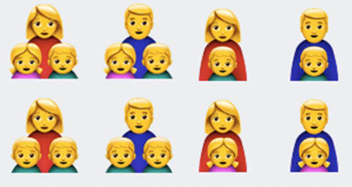 Mono-parental family emojis