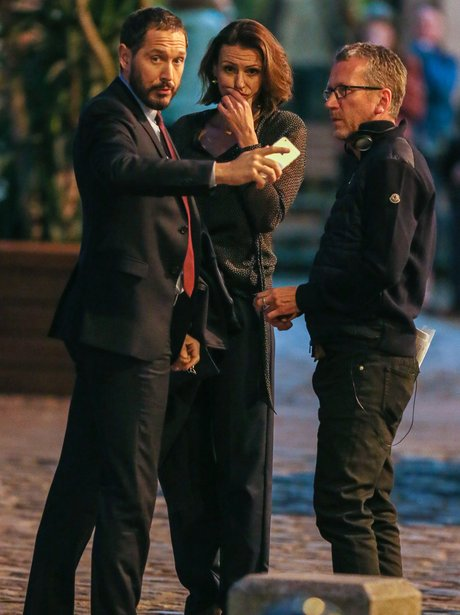 Suranne Jones on set filming Doctor Foster