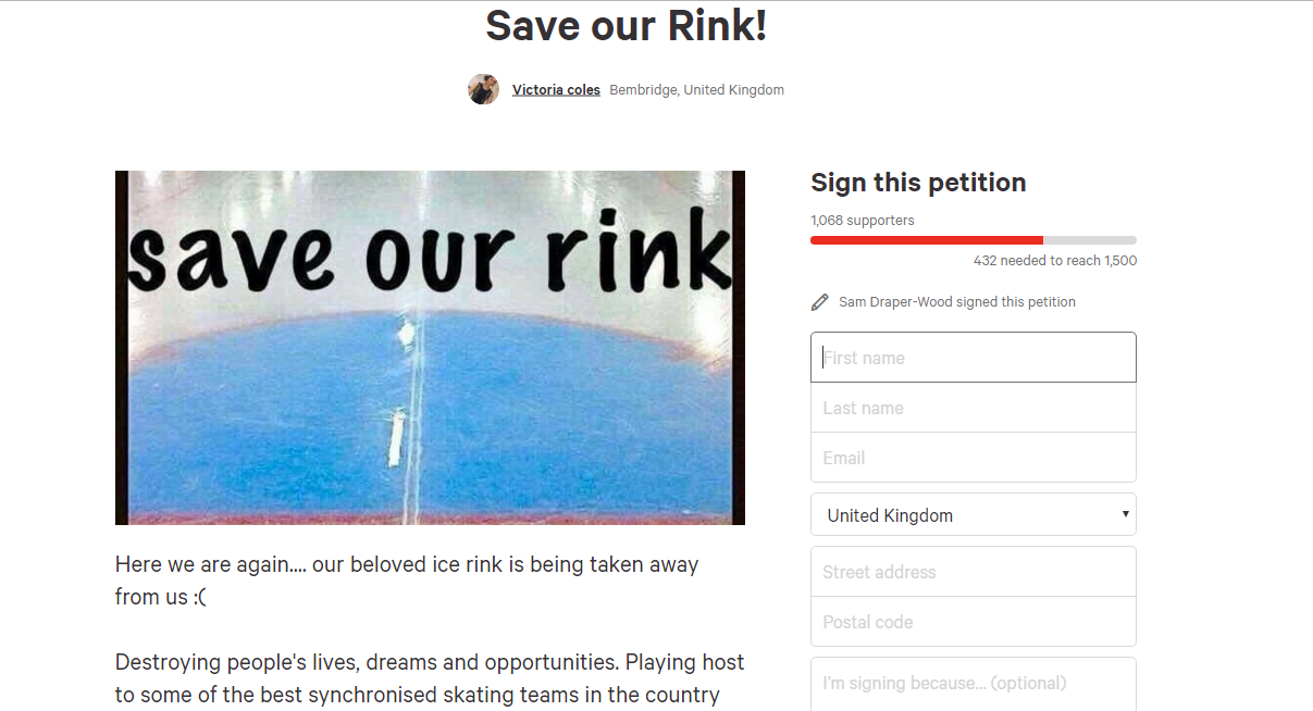 ryde ice rink petition