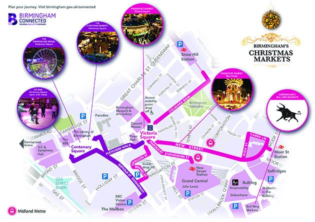 Birmingham Christmas Markets Map 2016