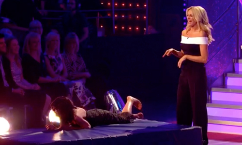 Claudia Winkleman falling Strictly Come Dancing