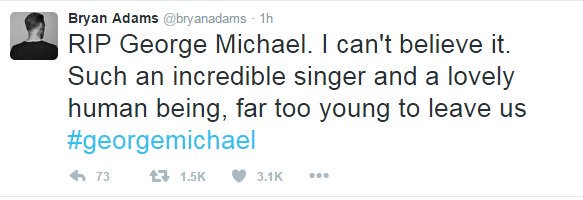 bryan adams tweet on George Michael