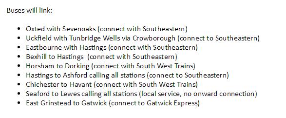 southern rail buses on strike days
