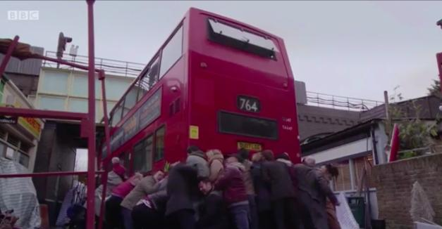 Eastenders characters lift bus after crash