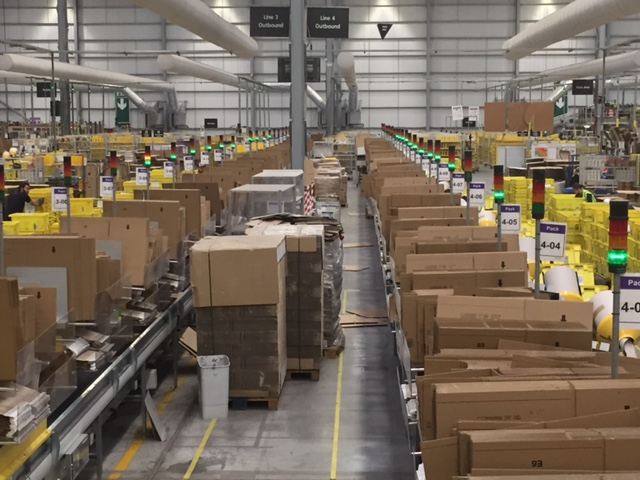 Boxes in Amazon warehouse